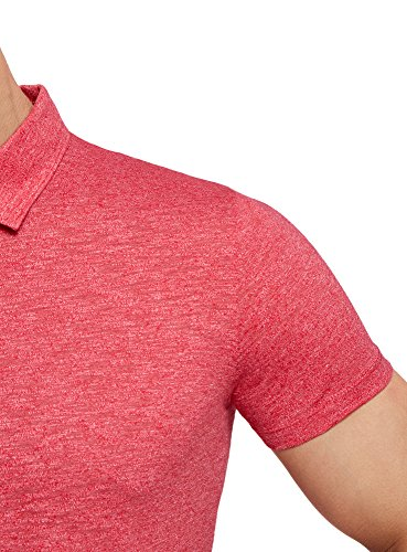 oodji Ultra Herren Poloshirt Basic in Melange-Optik Rot (4500M)