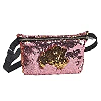 SZTARA Mermaid Waist Bag Paillette Pocket Fashion Lady Women Purse Multi-purpose Storage Pruse Pack Pink Gold