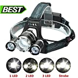 LED Headlamp Headlight,SGODDE 5000LM Super Bright Zoomable 4 Modes LED Head Torch,Rechargeable Waterproof Comfortable Headlight, with 2 Pack Rechargeable Batteries, Adjustable Focusable + AC Charger for Biking, Cycling, Climbing, Camping, Dog Walking, Hiking, Fishing, Night Reading, Riding, Running and other Outdoor and Indoor Activities