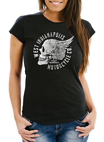 Neverless Damen T-Shirt Motorrad Biker Totenkopf Skull Wings Vintage Slim Fit Schwarz M