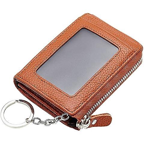 Esdrem Unisex in vera pelle, a portafoglio, con chiusura a Zip, cambiare Custodia a portafoglio, con anello portachiavi