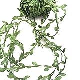 Gnognauq 20 Mètres Artificielle Plantes Guirlande Vigne Feuille de Soie Artificielle pour décoration de Mariage,Couronne de Décoration de Mur de Jardin,Décor de fête (Vert)
