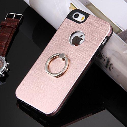 iPhone Case Cover Pour iPhone 5 & 5s & SE Texture brossée Metal + TPU Étui de protection avec support de support d'anneau ( Color : Silver ) Rose Gold