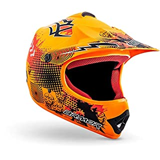 "Armor · AKC-49 ""Limited Orange"" (Orange) · Kinder-Cross Helm · Enduro Sport Kinder Moto-Cross Motorrad Off-Road · DOT certified · Click-n-Secure™ Clip · Tragetasche · M (55-56cm)"