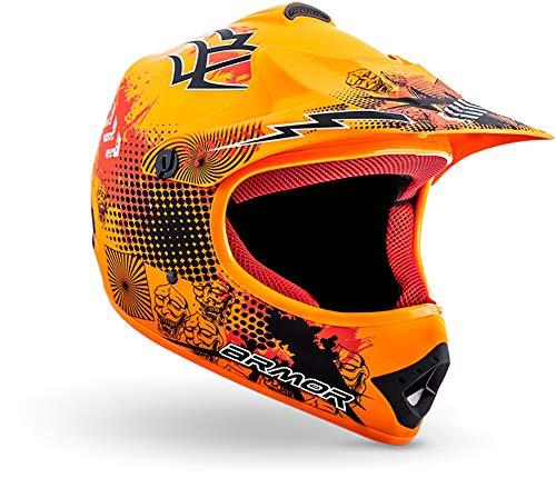 "ARMOR HELMETS® AKC-49 ""Limited Orange"" · Kinder-Cross-Helm · Motorrad-Helm MX Cross-Helm MTB BMX Cross-Bike Downhill Off-Road Enduro-Helm Moto-Cross Sport · DOT Schnellverschluss Tasche XS (51-52cm)"