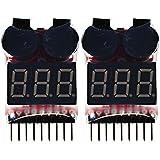 COM-four ® lipo batterie tension testeur d'alarme avec suspension pour 1-8s lipo/li-ion ion/li-fe liMn/batterie (lot de 2)