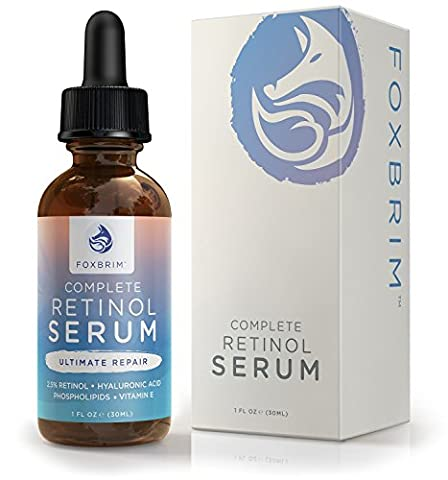 Anti Aging Retinol Serum with Hyaluronic Acid - 2.5% Phospholipid Based Best for Eye and Face - Reduce Wrinkles & Repair Fine Lines - Natural & Organic - Foxbrim