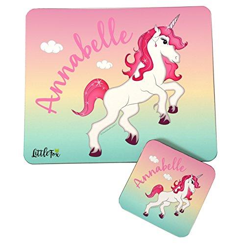 Los niños de personalizado unicornio tema manteles individuales y posavasos para las...