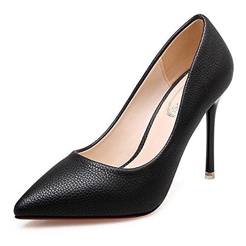 DIMAOL Scarpe Donna PU Primavera Cadono Comfort Tacchi Stiletto Heel per Esercito Casual Verde Nero Marrone Nero