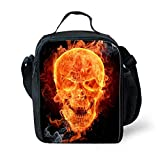 Best Teen Lunch Boxes - Nopersonality Cool Fire Skull Black Insulated Lunch Bag Review