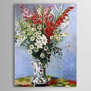 WEIAN® Olio famoso dipinto Bouquet di gladioli, gigli e margherite di Claude Monet