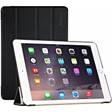EasyAcc iPad Air 2 Smart Case Ledertasche Schutzhülle Bumper Hüllen Tasche Leder Hülle Ultra Slim Lederhülle Flip Case Etui mit Standfunktion / Auto Sleep Wake up für iPad Air 2 / iPad 6 (Modell Number A1566/ A1567) - Schwarz Dunkle, Kunstleder