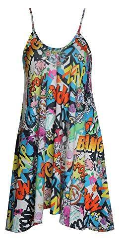 Fast Fashion - Robe Print Swing Comique Leggings Veste Dans Des Styles Différents - Femmes Swing Robe Strapy