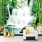 Fushoulu Gewohnheit Irgendeine Größe Wandbild Tapete 3D Stereo Wasserfall Bambus Wald Wandmalerei Wohnzimmer Tv Hintergrund WanddekorWandbilder-250X175Cm