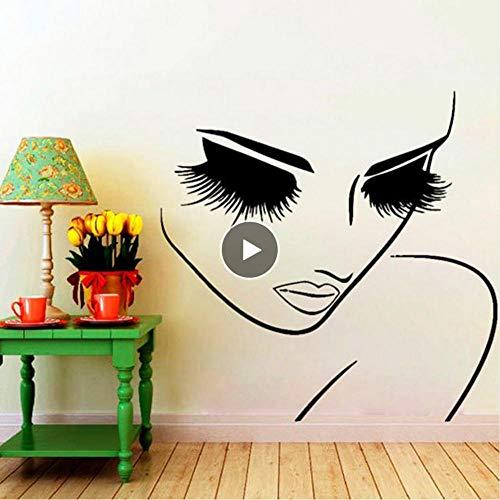 Dwqlx Salon Mädchen Schönheit Gesicht Friseur Haar Kunst Wandtattoos Salon Hübsches Gesicht Nahaufnahme Augen Lange Wimpern Raumdekor Wandbild57 * 57