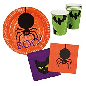 Happy Halloween Tisch-Set BOO Becher Teller Servietten 6Stück (76934)