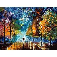 DAMANGXIANG Números Pintura Al Óleo DIY Kits Pintados A Mano Árboles Camino Pareja Arte Abstracto Moderno