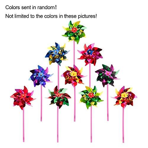 EMVANV - 10 molinillos de viento de plástico para fiestas, multicolor llamativo para niños, juguetes, césped, jardín, fiesta, decoración (color enviado al azar)