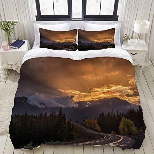 SIONOLY Bettwäscheset,Autobahn Sonnenuntergang Strahlen Wyoming Montana Cloud Mountain Road Baum Herbst Nebel Dämmerung,Multicolor Bettbezug Kissenbezüge Sets,Single Size 135 * 200cm