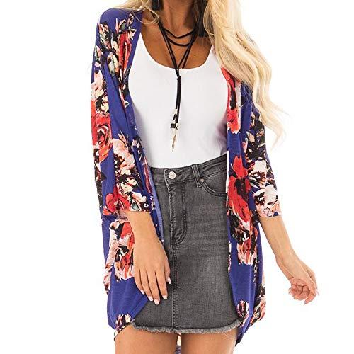 Amphia - Bedruckte Damen-Cardigan-Blusenjacke - Frauen Baumwolle Blume drucken Mode Mantel Tops Anzug Kimono Abdeckung Mode ()
