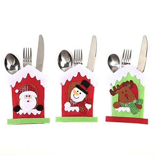 Hey ~ Yo 3pcs a forma di Babbo Natale vestito di posate da cucina argenteria tasche titolari Snowman Elk coltelli forchette cucchiai della festa di Natale favor