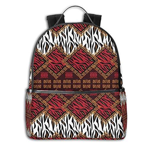 College School Backpacks,African Animal Skin Stylized Stripes In Diamond Pattern Native Tribal Artwork,Casual Hiking Travel Daypack - Tribal Artwork