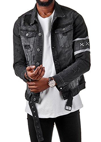 Schwarze Jeans-jacke (EightyFive Herren Denim Jeans-Jacke Basic Destroyed Slim Fit Schwarz EF3631, Größe:XL, Farbe:Schwarz)