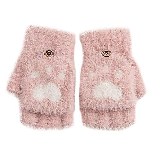 ZHANGYUGEGE Guantes de Invierno niñas Cute Kawaii Cat Paw Coral Fleece Guantes sin Dedos cálidos Mitones Femeninos, Rosa