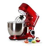 Klarstein Carina Rossa • Knetmaschine • Rührmaschine • Küchenmaschine • 800 Watt Leistung • 4 Liter Edelstahlschüssel • 6-stufig einstellbare Arbeitsgeschwindigkeit • bedienungsfreundlich • rot