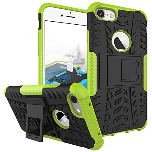 "iPhone 7 Armor Case , VMAE Dual Layer Antiskid Tread Hybrid Rugged Heavy Duty Hard Back Cover Anti Slip With Built-In Kickstand Shock Proof Protective Case for iPhone 7 4.7"" (Red) Green"
