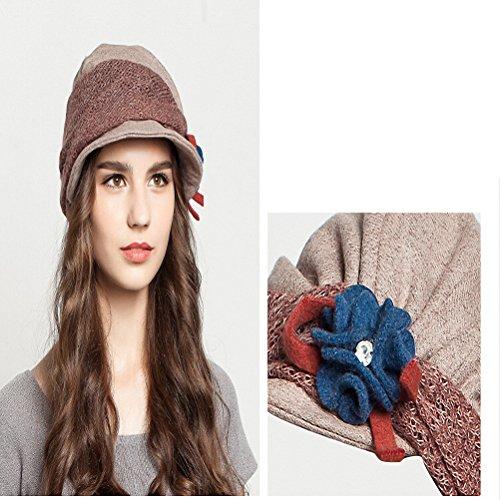 Maitose™ Fleurs décoratives Wool Beret des femmes Beige