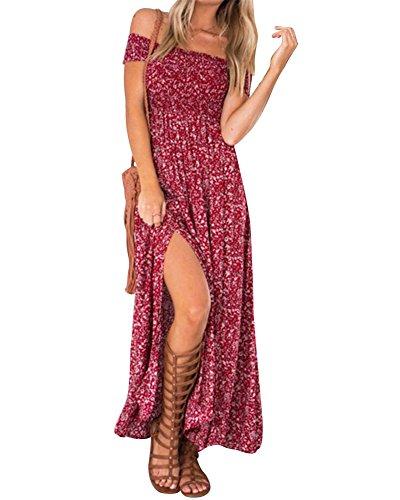 Femmes Bohême Robe Épaules Nue Manches Courtes Plissée Robe Longue Maxi Robe de Soirée D'été Bustier Fendue Rouge