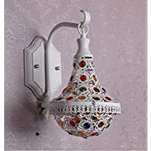 DENG delante del espejo Europea lámparas lámpara de pared azul del Mediterráneo luz del jardín creativo minimalista dormitorio de noche caliente de la lámpara de cristal , 30