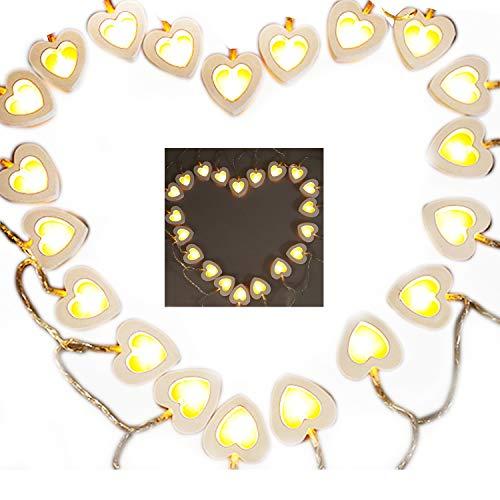 Lichterkette mit Herzen, aus Holz, batteriebetrieben, 10 warmweiße LEDs, ideal für den Außeneinsatz auf Terrasse, Wege, Garten, Innenbereich, Party, Schlafzimmer Dekor, holz, 10 light