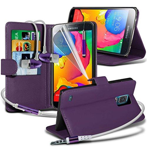 Samsung Galaxy S5 Neo hülle Tasche (Grün + Kopfhörer) Slim-Fit-Abdeckung für Samsung-Galaxie-S5 Neo-hülle Tasche Haltbarer S Linie Wellen-Gel-Kasten-Haut-Abdeckung + mit Aluminium Earbud Kopfhörer, Po Wallet + Earphone ( Purple )