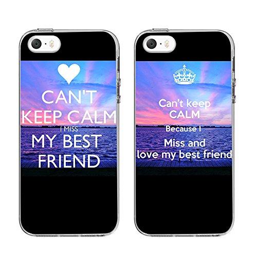 Coque Iphone 5/5s 5SE 10,2cm -ttott 2x cas floral BFF Best Friends Bumper ultra-fin anti-rayure Téléphone Etui Housse Coque Arrière pour iPhone 5/5S/5C/5Se 10,2cm [Best Friend cadeau cadeau d'anni Miss Friend