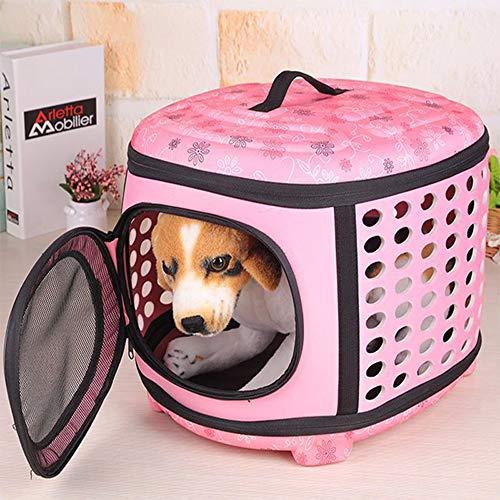 Sinbide Transporttasche für Haustiere Hundebox Katzen Transportbox Trageboxen Faltbare Hundebox Haustier Transportbox Klappbar Autobox gepolstert Katzen Henkel Tragetasche 45 * 38 * 32cm (Pink)