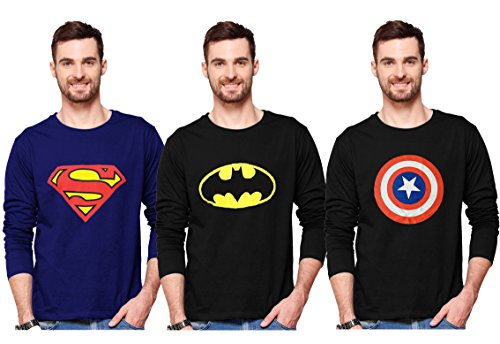 Smartees Men's Cotton Printed Full Sleeve Tshirt Combo Pack of 3