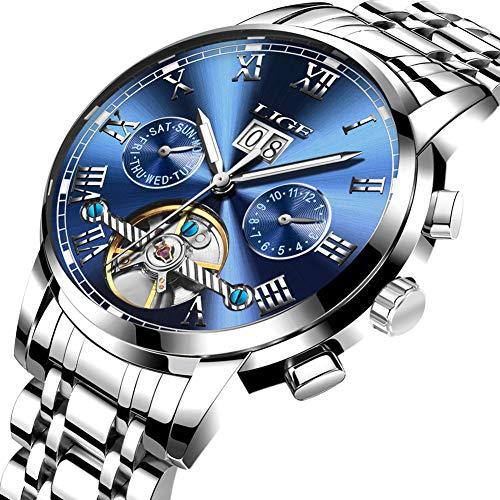 Relojes para Hombres,LIGE mecánico automático Relojes Acero Inoxidable Fecha Moda Casual...