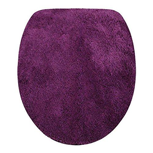 Toilettendeckelbezug/ WC-Stoffbezug - Mikrofaser-Klodeckelbezug, 15mm Flor, Gummizug, oval ca. 47x50cm, in der Farbe aubergine Teppich Aubergine
