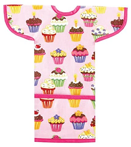 AM PM Kids! Sleeved Toddler Laminated Bib, Cupcakes by AM