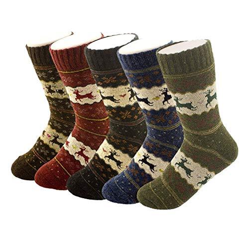 41b6ca80e YSense Damen-Winter-Socken, Dicke und warme Wolle, 5 Paar