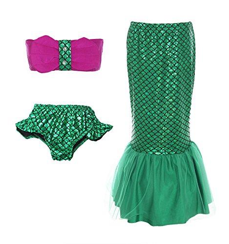 ReliBeauty Little Girls 3Pcs Mermaid Tail Bikini Set Swimwear, GSM208