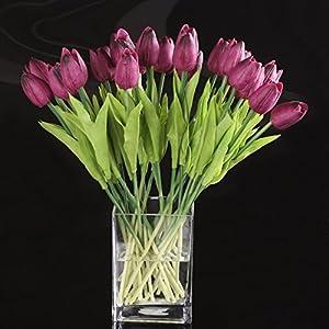 WOVELOT Flor del Tulipan del Latex del Tacto Real para La Decoracion El Ramo De La Boda De La Mejor Calidad KC455 (20 PC…
