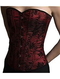 ANGELYK corsets habillés - Corset Habillé Paris Bordeaux Noir Effet Velours  Floral Baleines Acier Spiralé dcf5a0623