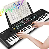 WOSTOO Clavier électronique de Piano 61, Clavier de Piano Portable avec Pupitre, Microphone, Clavier de Piano Numérique de Musique d'alimentation pour Enfants/Adulte