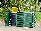 3er Mülltonnenbox / Mülltonnenverkleidung 120 L Holz, Deckend Geölt Tannengrün