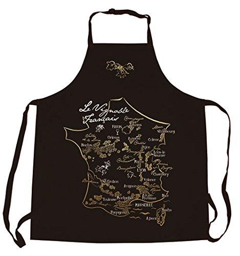 Tablier de cuisine noir Carte du vignoble français