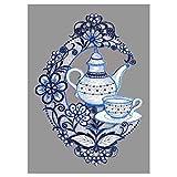 Fensterbild Kaffeekanne in blau-weiß Plauener Spitze Küchendekoration Fensterdeko