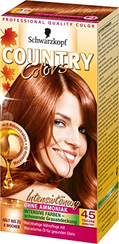 Schwarzkopf Country Colors Intensivtönung, 45 Toscana Herbstrot, 2er Pack (2 x 123 ml) -